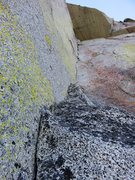 Rock Climbing Photo: The enduro corner on Pitch 4. No move is harder th...