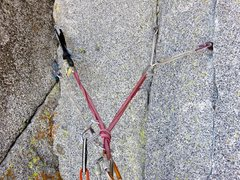 Rock Climbing Photo: The belay at the top of the Pitch 4 corner and und...
