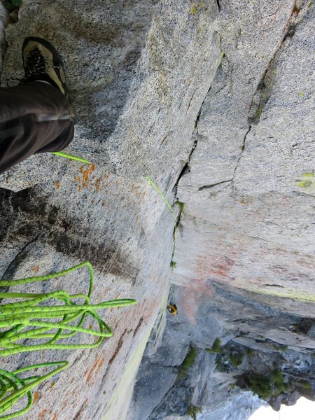 Looking down from the belay at the top of the Pitch 4 corner.