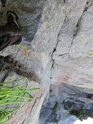 Rock Climbing Photo: Looking down from the belay at the top of the Pitc...