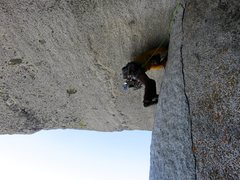 Rock Climbing Photo: John on the wild traverse beneath the roof (Pitch ...