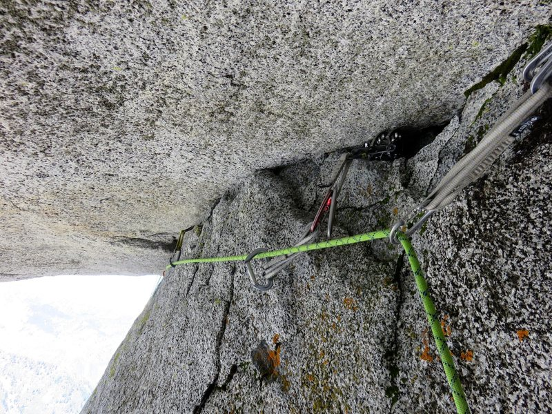 The crack at the top of the roof (Pitch 5). It takes good gear.