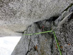 Rock Climbing Photo: The crack at the top of the roof (Pitch 5). It tak...