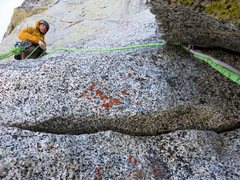 Rock Climbing Photo: There is a pinch at the end of the roof (Pitch 5)....