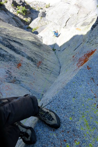 Looking down at the nice hand-crack of Pitch 6; this crack felt 5.10a to me. I took this photo from the location of the 11+/12- crux.