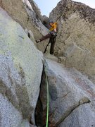 Rock Climbing Photo: John entering the flaring chimney on Pitch 7. In h...
