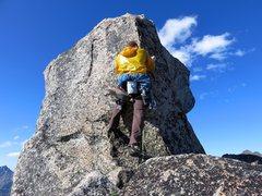 Rock Climbing Photo: John at the balanced rock at the top, trying to fi...
