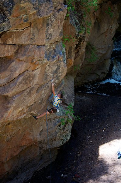 Nat on a Unnamed 5.12-, north side of the river at LEF. Bouldery, big lock-off crux down low.