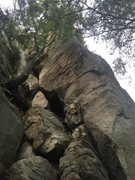Rock Climbing Photo: Close up of the upper bolts and gully. Good belay ...