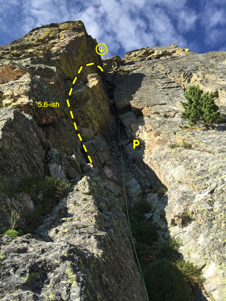 Mike Lewis leading the last pitch. It&@POUND@39@SEMICOLON@s not as bad as it looks! There is a crack that goes up the left wall that is nice and takes you around some of the manky moss down low.