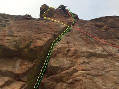 Rock Climbing Photo: Red=Cluckers variation Green=Event Horizon variati...