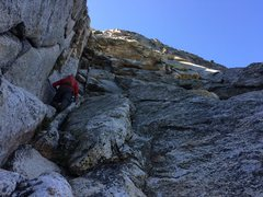 Rock Climbing Photo: Free soloing 4th class P1 to a belay ledge, 20-30&...