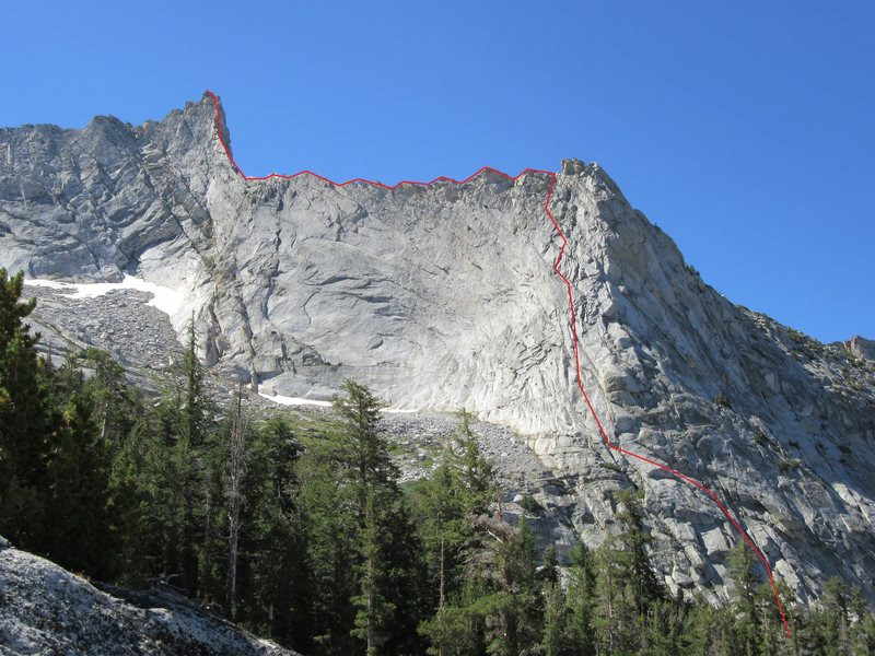 Nightingale Arete, Vogelsang Peak. Line drawn in as we climbed it.