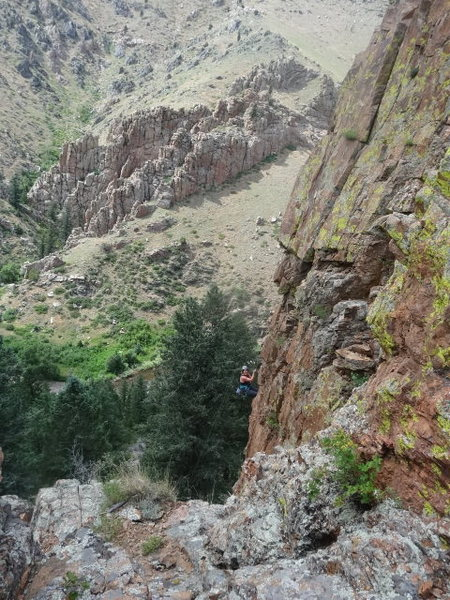 Rock Climbing Photo: Susanna lowered after follow - amazing views.