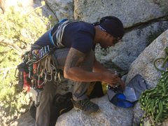 Rock Climbing Photo: Prepping for battle just before the FA of Black De...
