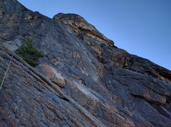 Rock Climbing Photo: Pitch 1 wanders a bit. The climber is at the first...
