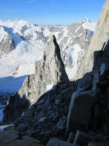 Looking down the South Ridge from the snow field below the crux buttress.