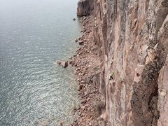 Rock Climbing Photo: The whole route. It's a big one by midwest sta...