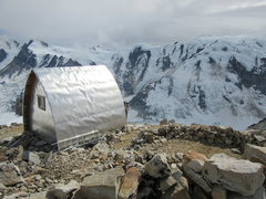 The Plummer Hut looking down on the Tiedemann Glacier.