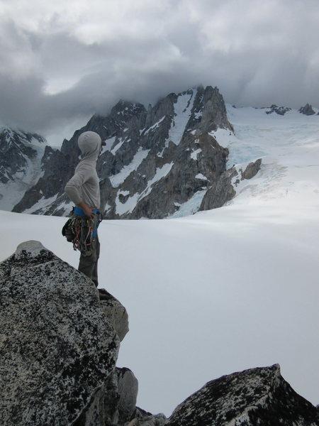 """""""Climbing"""" the West Ridge."""