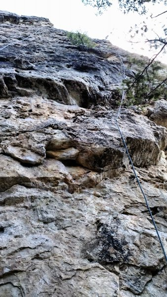 The route pulls the bulge then follows the arete on excellent holds