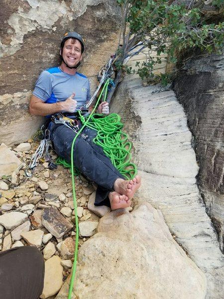 Rock Climbing Photo: Scott, top of p5, working hard belaying Jeremy A.