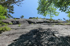 Rock Climbing Photo: Base of the climb. The left crack and big v notch ...