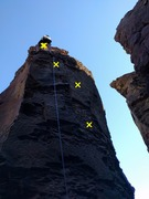 Rock Climbing Photo: Swagat cleaning the Notch route