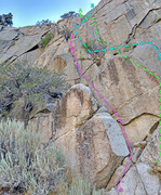 Rock Climbing Photo: Rebuffat sector : central routes ... A. Tangling w...