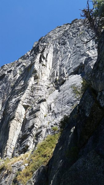 Looking up at the route