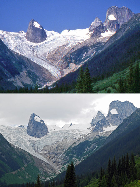The shrinking Bugaboo Glacier. 1994 vs 2016.