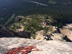 Rock Climbing Photo: Looking down from the top of the third pitch