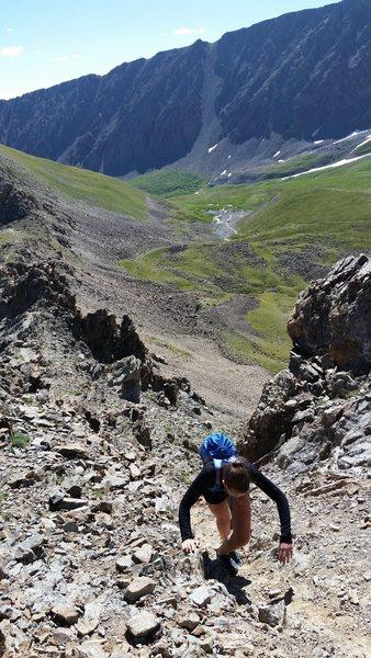 Rock Climbing Photo: Araceli on the kelso Ridge of Torreys Peak.  Her f...