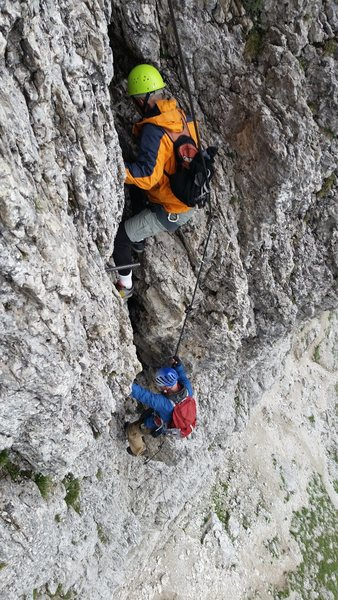 Dolomites, Italy with Mike C, and Doug D. July 18th - August 4th, 2016. After being rained off of the second Stella Tower, we opted for Via Ferrata Mesules- up and down, in the rain.