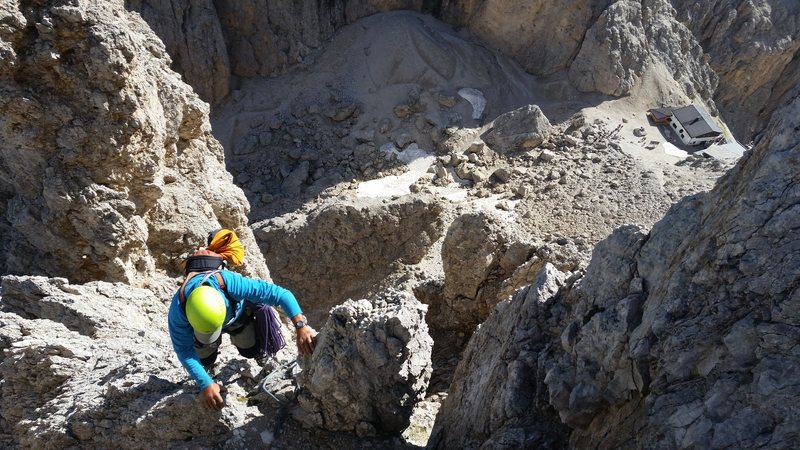 """Dolomites, Italy with Mike C, and Doug D. July 18th - August 4th, 2016. On a slightly better forecast, we climbed the """"Thumb"""" Punta Delle Cinque at the Sassolungo Group. July 24th 2016."""