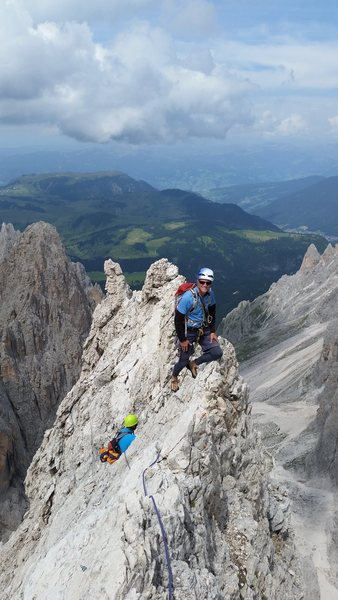 "Dolomites, Italy with Mike C, and Doug D. July 18th - August 4th, 2016. On a slightly better forecast, we climbed the ""Thumb"" Punta Delle Cinque at the Sassolungo Group. July 24th 2016."