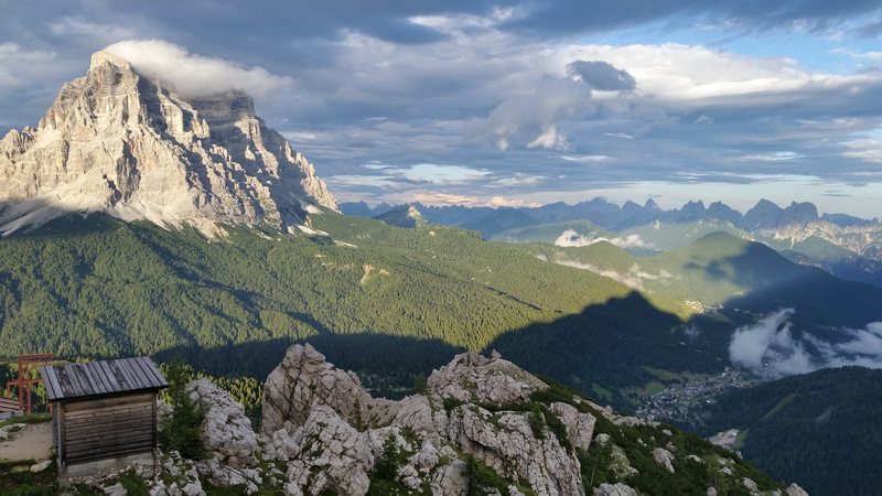 View from Refugio Coldai, on Civetta (Pelmo in the background).  It rained hard here so we didn't get to climb, had fun spending the night up here none - the less. Dolomites with Mike C, and Doug D. July 18th to Aug 4th 2016.