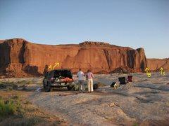 Rock Climbing Photo: Lost World Buttes .Barlett Flat . Moab area. Camp ...