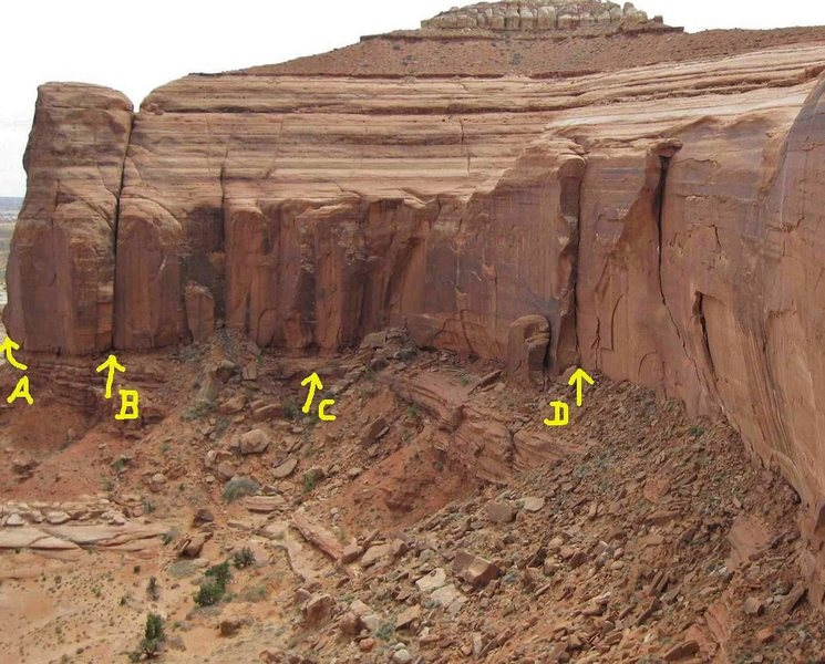 Lost World Butte .Bartlett Flat.Moab Area .<br> A)Kipling Groove.B)Gateway to the Lost World.. C)IF.D)Howe in the World Chimney.