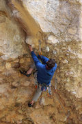 Rock Climbing Photo: getting in to the blank corner and the crux