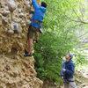 jerm climbing, me belaying