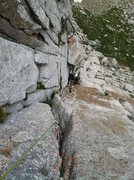 Rock Climbing Photo: Jordan loving the grassy corner.