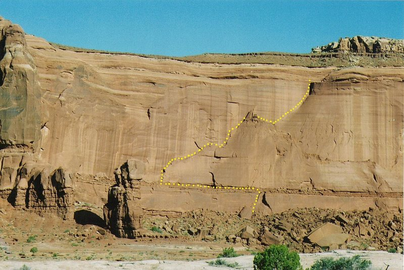 Rock Climbing Photo: FA. The Road not Taken. Lost World Butte . Bartlet...