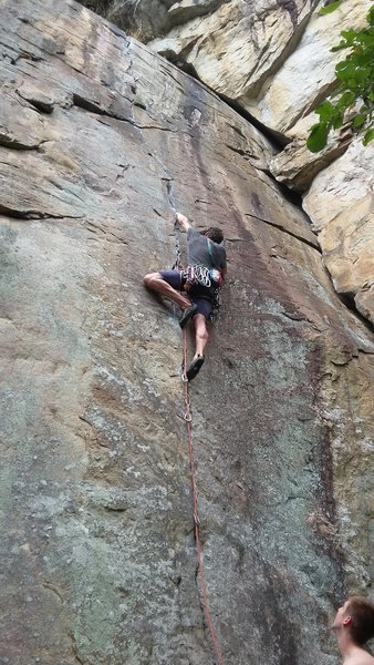 Paul Knox on lead, Cameron Triay belaying