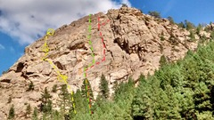 Rock Climbing Photo: Eagle Rock, as seen from the highway. The yellow l...