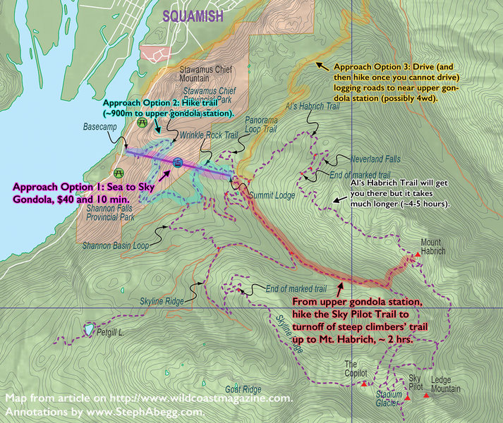 Rock Climbing Photo: Approach map for Mt. Habrich