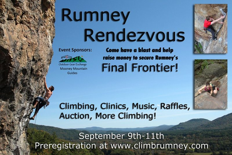 Do you want to go to a party where your incessant talk about climbing is NOT weird? Than come to the Rumney Rendezvous! From September 9th through the 11th, climbers from all over the world will gather to celebrate Rumney. There will be slideshows, a competition, and yes, incessant talk about climbing. Further details will be forthcoming…