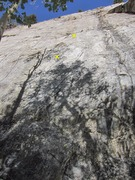 Rock Climbing Photo: 1st 2 bolts marked.  Rope on Hard Monkey to the le...