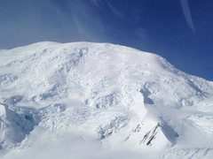 Rock Climbing Photo: Upper mountain high camp to summit. Don't forg...