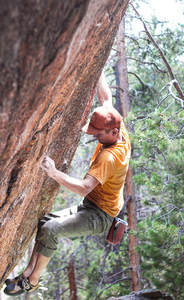 Rock Climbing Photo: Me on the FA of the stand start - right hand in th...
